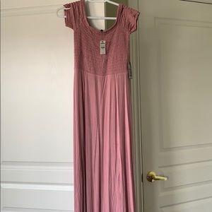 double slit XS smocked mauve maxi dress